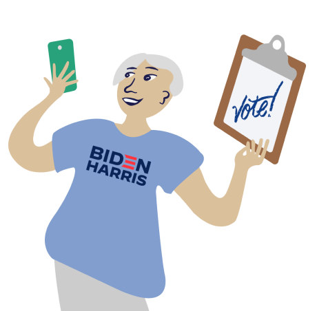 Colorful Illustration of Organizer Holding Phone and Clipboard saying Vote