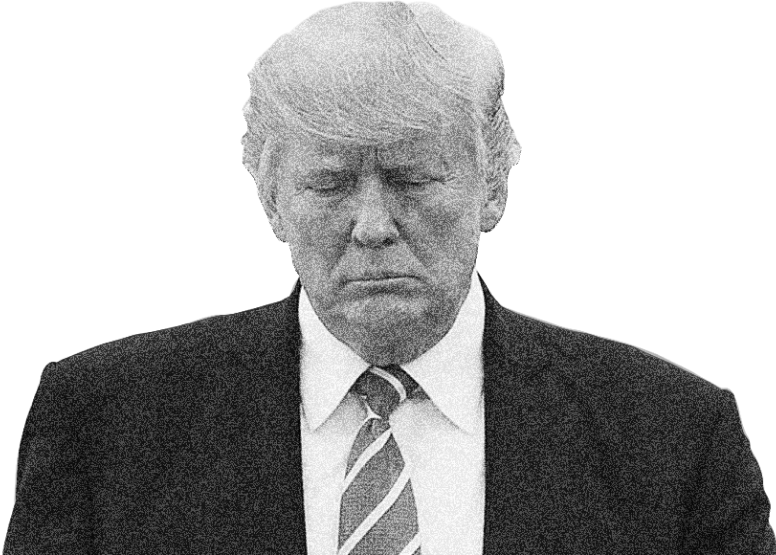 President Trump in black and white