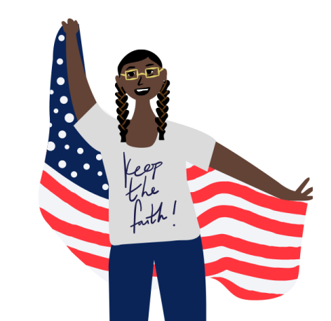 Colorful Illustration of Woman Holding Flag with Shirt That Reads 'Keep the Faith'