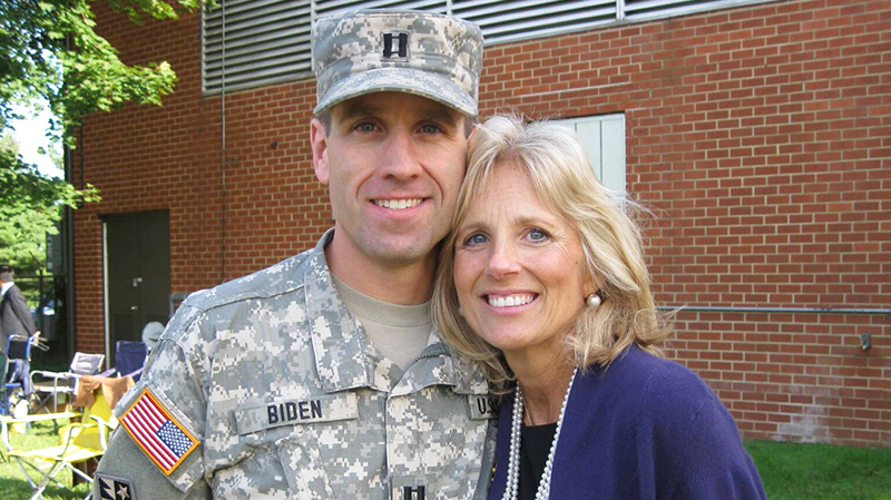 Beau in military uniform with Jill Biden