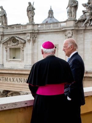 Joe Biden speaks with the Pope