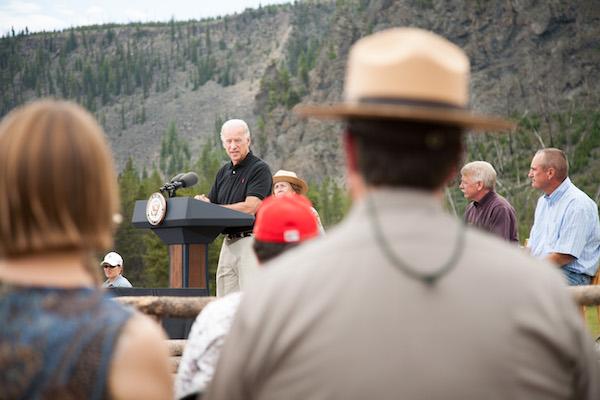 VP Biden speaking outdoors.