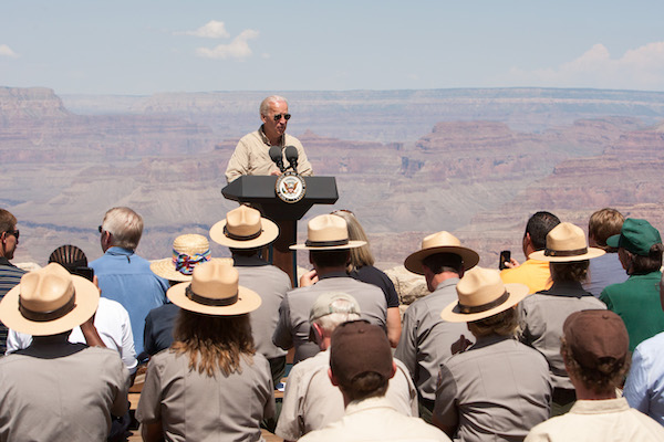 VP Biden speaking at the Grand Canyon.