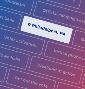 Image of various events and locations from the campaign's event platform, Mobilize. The city Philadelphia is highlighted.