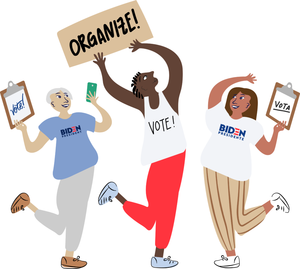 "Illustration of three people. One, in a light blue shirt with a Biden logo and gray pants. Another in a white tank top that reads 'Vote!"" and red pants. The other in a white shirt with a Biden logo and brown pants."