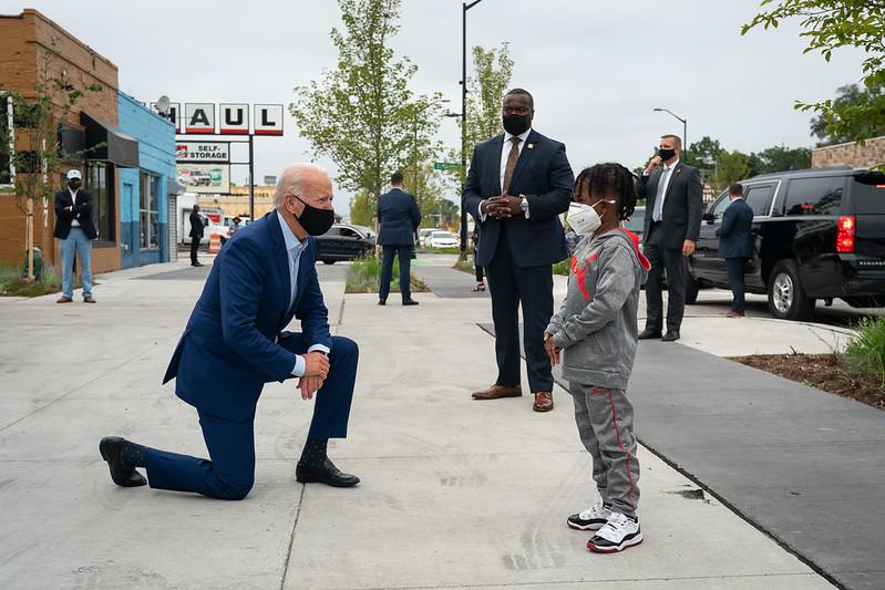 Joe Biden with boy in Detroit