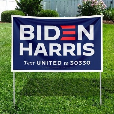Photo of Biden Harris blue yard sign.